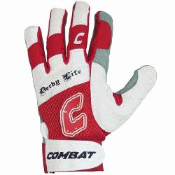 Life Youth Batting Gloves Pair Red Large  Derby Life Ultra-Dry Mesh Batting