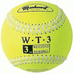 d 9 Leather Covered Training Baseball 3 OZ  Build your arm strength with Markwort training weighte