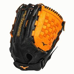GMVP1400PSES3 Slowpitch Softball Glove 14 inch Black-Orange Right Hand Throw  Patent pending