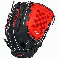 00PSES3 Slowpitch Softball Glove 14 inch Black-Orange Right Hand Throw  Patent pending Heel Flex