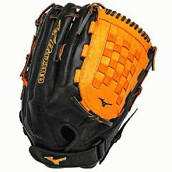 SES3 Slowpitch Softball Glove 14 inch Black-Orange Right Hand Throw  Patent pending Heel Flex Techn