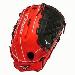 S3 Slowpitch Softball Glove 14 inch Red-Black Right Hand Throw  Patent pending Heel Flex