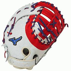 P Prime First Base Mitt 13 inch Silver-Red-Royal Right Hand Throw  Patent pending Heel