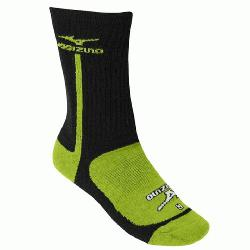 uno Performance Highlighter Crew Sock BlackLemon Small  The Mizuno performance highlighter