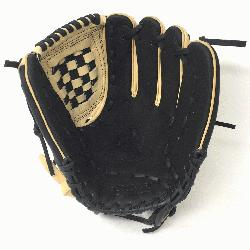 lt Glove made of American Bison and Supersoft Steerhide leather combined in black and cream colo