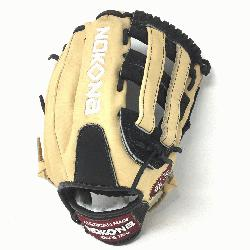 g Adult Glove made of American Bison and Supersoft Steerhide leather combined in black and cream co