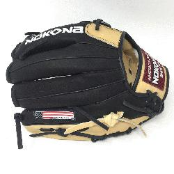 oung Adult Glove made of American Bison and Supersoft Steerhide leather combined in black
