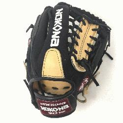 ult Glove made of American Bison and Supersoft Steerhide leather combined in black and cream c