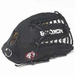 Young Adult Glove made of American Bison and Supersoft Steerhide leather combined in black a