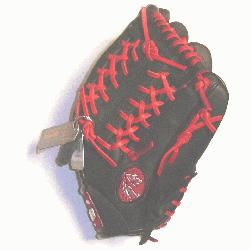 nal steerhide baseball glove with red laces modified trap web and open back.</
