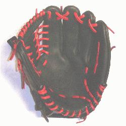 rofessional steerhide baseball glove with red laces modified trap web and open back.</