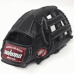 a preminum steerhide black baseball glove with white stitc