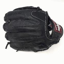 eminum steerhide black baseball glove with white stitching and h web. The Nokona Legend