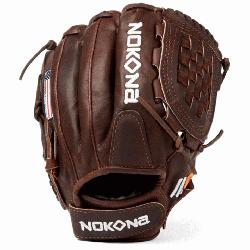 Fast Pitch Softball Glove Chocolate Lace. Nokona Elite performance ready for play position specif