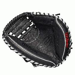 33 catchers mitt Half moon web Grey and black Full-Grain leather Velcr