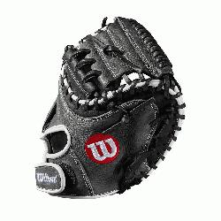 catchers mitt Half moon web Grey and black Full-Grain leather Velcro back. The A10