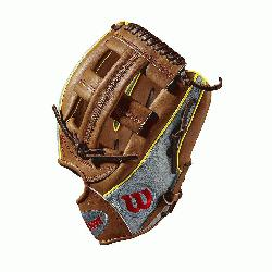 9DP15GM for Dustin pedroia; Cross web Grey SuperSkin with saddle tan and y