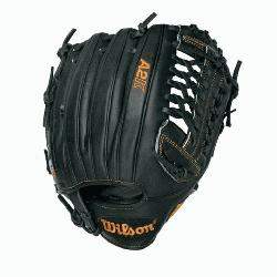 Pitcher Baseball Glove Black Tan 12 in Right Handed Throw  The Wilson A2