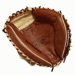 hers model; half moon web Copper and blonde Pro Stock Select leather chosen for its consistency and
