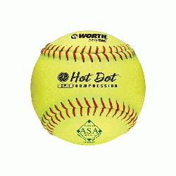 1 slow pitch softballs have red stit