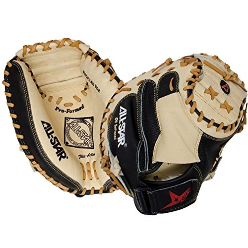 All-Star Allstar CM3030 Catchers Mitt 33 inch (Right Hand Throw) : The CM3030 is an entry level adult sized mitt offering many features found in the elite level gloves. Pre-softened leather on the inside of the mitt allows for instant break-in and the black leather backing provides more support. Pro formed pocket, profiled toe, and Flex Action crease make this a fantastic catchers mitt. All Star CM3030 Catcher's Mitt Features: Pre-softened leather Instant break-in Black leather backing Pro formed pocket Profiled toe Flex Action crease.