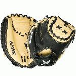 The All Star CM3031 Comp 33.5 Catcher's Mitt is a great choice for the beginner or recreational player looking for a dependable glove. It combines pre-softened tan leather on the inside of the mitt for easy break-in with a more durable black leather backing to give you the support and hand protection you need while behind the plate. Features: Black leather backing provides durable support Pre-softened leather on palm side of mitt Pro formed pocket with Flex Action crease for easy closure Velcro wrist closure for a snug fit Size: 33.5 Position: Catcher Web Pattern: Two-piece solid web Back: Open