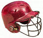 All-Star BH6100FFG Batting Helmet with Faceguard and Metalic Flakes (Scarlet) : Metallic finished Cool Lids with Batter's Face Guard attached. High gloss and High impact polycarbonate shell. Meets Noscae standards.