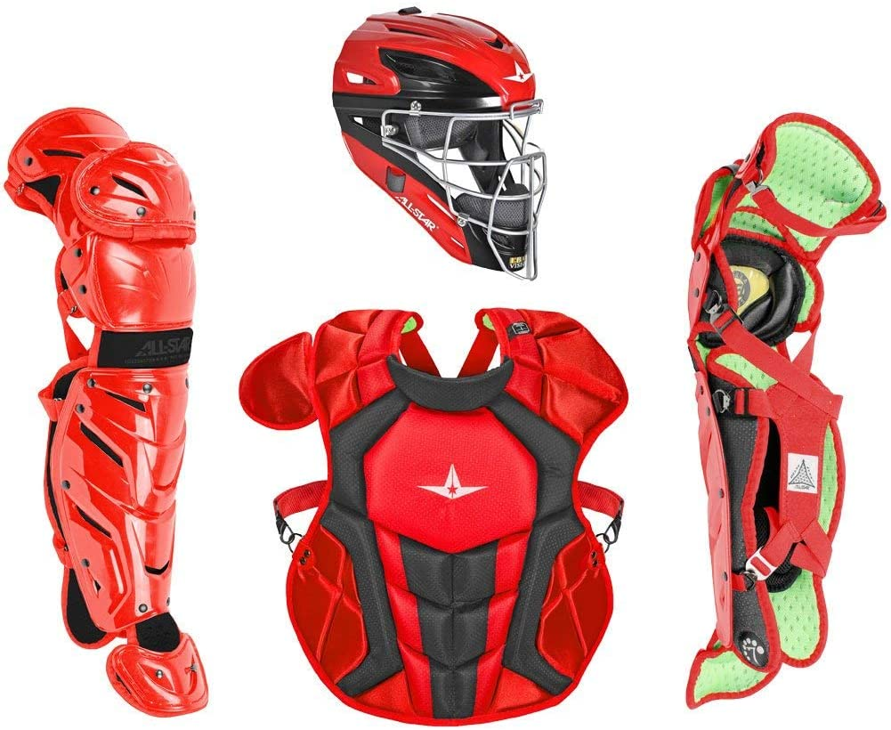 All Star Intermediate System7 Axis Elite Travel Team Catcher's Set Features * Set includes chest protector, leg guards, and hockey-style catcher's helmet * Recommended for players in the 12 to 16 age range A * Helmet * High impact-resistant ABS plastic shell * Durable I-BAR steel mask for improved vision * Back plate with strap provides secure fit * Removable, washable inner liner for comfort * Two-color gloss shell finish * Meets NOCSAE standard for safety * Size: Fits hat sizes A 7 to 7-1/2 * Chest Protector * Meets new NOCSAE standard for safety * Diamond vents on back for lightweight breathability * Internal PE protective plates for added safety * Stainless steel matte black hardware * Thin, form-fitting Delta Flex harness * Improved break points for improved blocking and control * Size: 15.5 * Leg Guards * pivoting hinge system for superior mobility * Wider, smoother knee for improved pivoting and sliding * Diamond vents on back for lightweight breathability * Repositionable center knee pad * Stainless steel matte black hardware * Size: 14.5 Hockey-Style Catcher's Helmet The high-impact A ABS plastic shell sports a two-color A gloss finish with an I-BAR steel mask providing maximum protection and improved vision. Chest Protector This chest protector A contains internal protective plates that add extra protection from ball impacts, with break points for improved mobility and maneuverability. Leg Guards These leg guards feature a pivoting hinge system that improves mobility, and a wider design for improved sliding and pivoting.