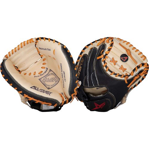 The CM1010BT is designed as an entry level catcher's mitt but mimics the look of All-Star's high end youth mitts. It features All-Star's classic black and tan leather look and uses a proven stitching pattern. The Mit includes Velcro closure, Flex-action crease, and profiled toe. and 31.5 inch pattern.