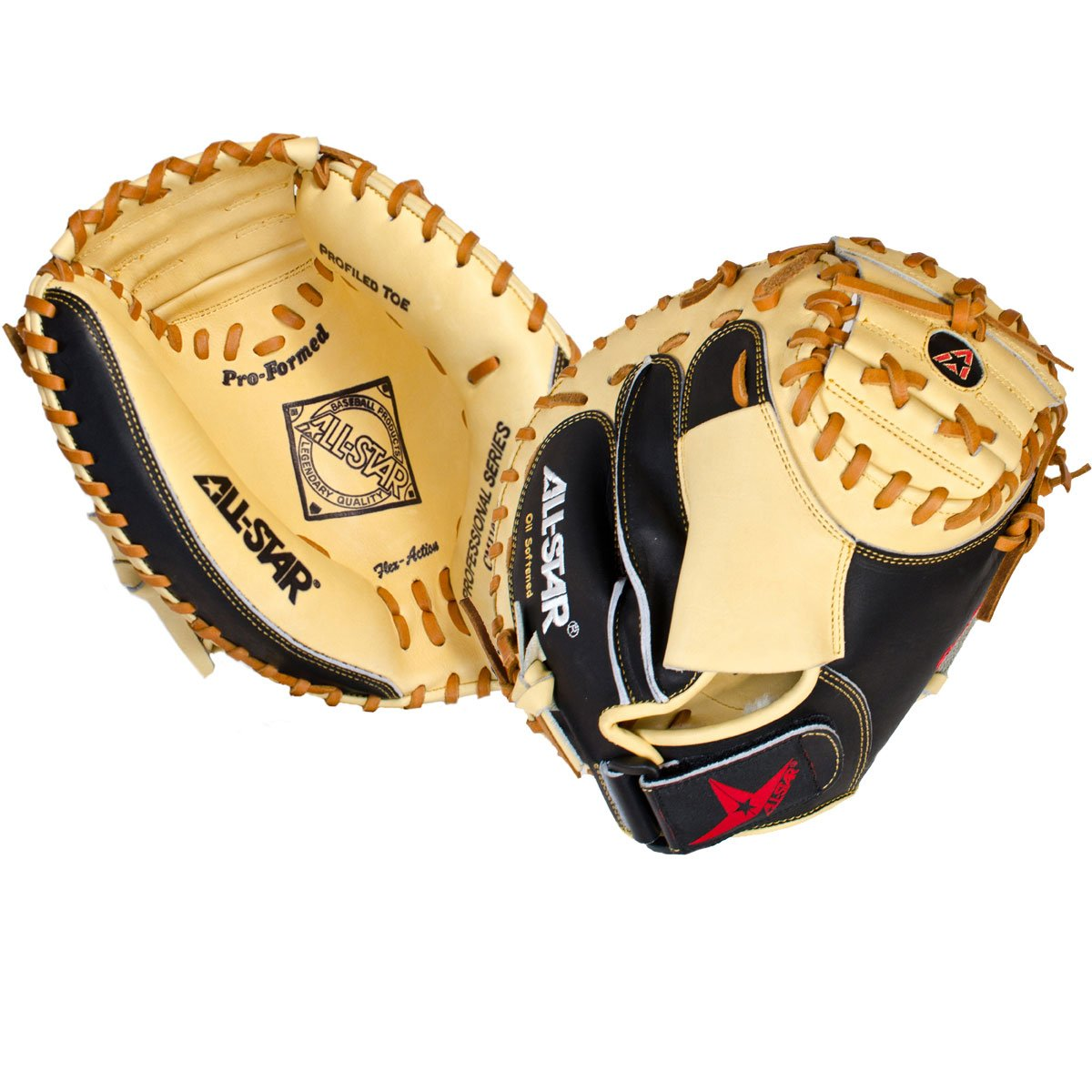 All Star CM1100PRO 31.5 inch Catchers Mitt Pro Grade (Right Hand Throw) : The CM1100PRO is a professional grade mitt designed for smaller hands. It features soft leather for faster break-in and a wide heel channel to make it super easy for youth catchers to close. Black and tan leather mimics the adult pro level mitt and uses similar cutting patterns. Deep pockets, Flex Action crease, velcro closure, and wrist protector included.
