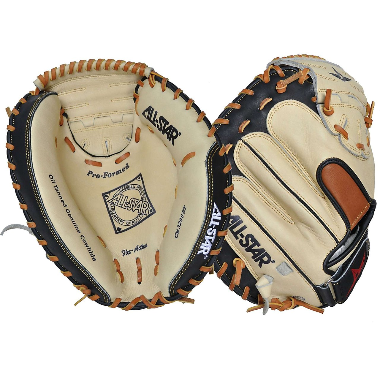 AllStar CM1200BT Youth Catchers Mitt 31.5 inch (Right Handed Throw) : The All Star CM1200BT features Oil Tanned Genuine Cowhide, Flex-Action heel, and a Pro Formed pocket.. All Star CM1200SBT Youth Catcher's Mitt Features. Oil Tanned Genuine Cowhide. Flex-Action Heel Pro Formed Pocket.
