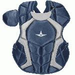 The S7™ Chest Protector is the only protector that has wedge shaped abs, which help knock a ball straight down when blocking. Designed to be light and thin, this chest protector has the absolute best fit and breathability compared to other chest protectors on the market. Players say it feels just like wearing a T-shirt! Internal moldable PE protective plates are inserted into the throat, collarbone, and sternum to keep those sensitive areas well protected. The longer you wear it, the more it will conform to a player's body. DeltaFlex Harness allows for maximum adjustability and comfort, fitting a wide range of body types. PRODUCT FEATURES Stainless steel matte black hardware Thinner and more form fitting DeltaFlex harness Improved break points which present a flatter surface for blocking and improving control. The chest protector should fit high, with the throat guard over the base of the neck. Equipped with the construction to pass the NOCSAE standard