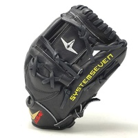 For years, All Star's catcher's mitts and equipment have been highly regarded among those who play the position. All Star has created the System Seven Series line of fielders gloves for the most serious players. Using the highest quality Japanese Maruhashi Black and Tan leather allows these gloves to have long lasting durability. The solid black leather provides a slightly stiffer feel and a long lasting glove. Inside, All Star's Pro Guard Padding provides a thin layer of extra padding in the palm that helps kill the sting of mis-caught balls, yet is thin enough to still allow the player to know right where the ball is in the glove. This 11.50 Inch infield model features a conventional open back and a shallow pocket for easy scooping and quick ball transfer.