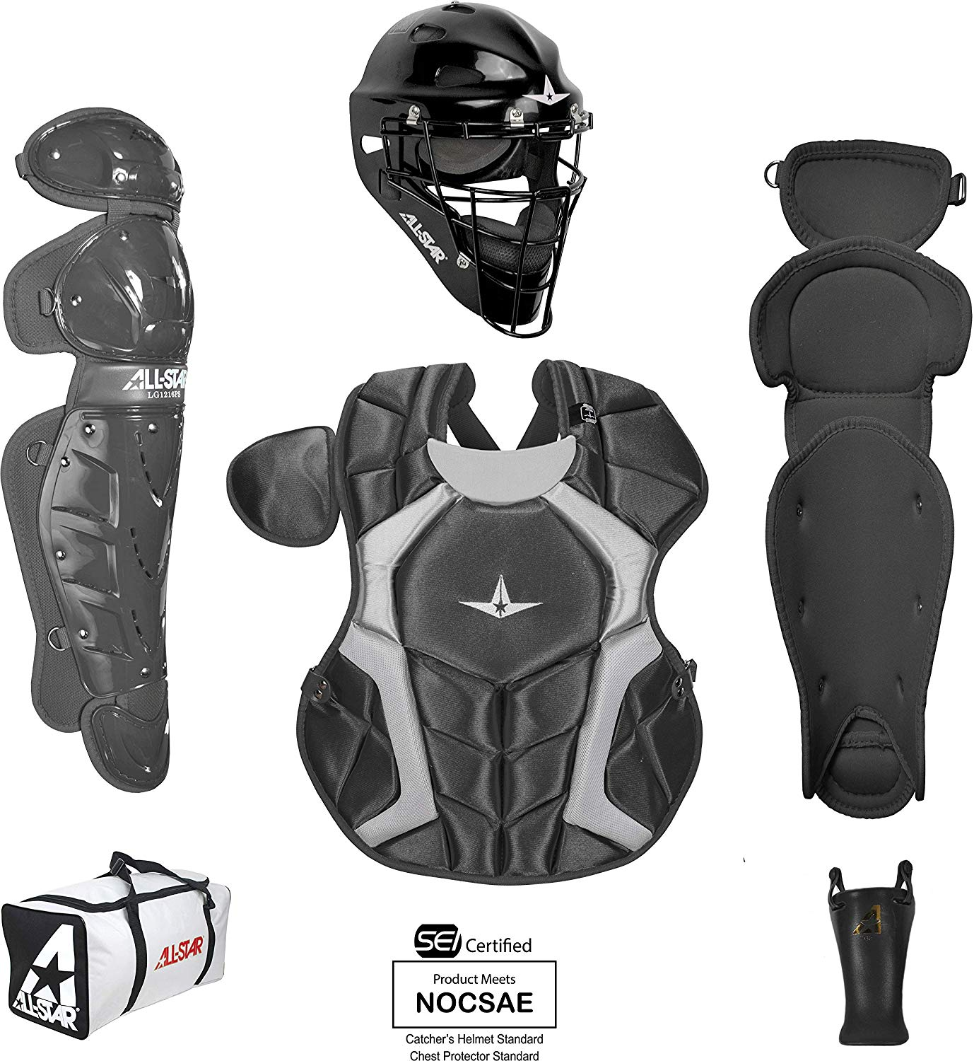 all-star-intermediate-12-16-players-series-catcher-set-black CKCC1216PS-BK All-Star 029343048944 Recommended for agesA 12 to 16 A Helmet Impact-resistant ABS plastic