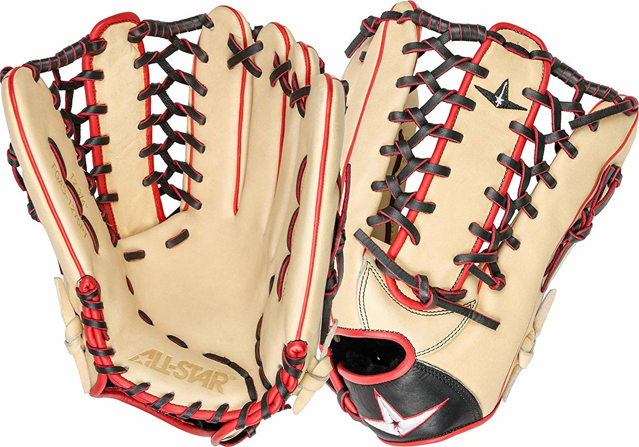 all-star-pro-elite-12-75-outfield-baseball-glove-cream-black-scarlet-right-hand-throw FGAS-1275PT-CRBK-RightHandThrow All-Star 029343048173 Patrol the outfield with confidence while wearing this 2019 All-Star Pro