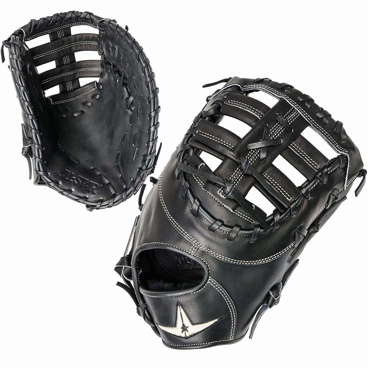 The All-Star Pro Elite glove is a natural addition to baseball's preferred line. Pro Elite fielding gloves provide premium level materials, patterns, and feel for all positions. Exclusive Japanese tanned steer hide delivers a fast, custom break in with professional level durability and performance. The world-class, Pittards leather palm lining delivers a buttery soft feel making the glove feel like a extension of the hand. - 13 Inch First Base Model - Single Post Web - Conventional Open Back - Japanese Black Leather - Pittards leather palm lining - Long Lasting Durability.