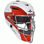 All Star System 7 Two Tone Catchers Helmet MVP2500WTT 7 to 7 34 (White-Scarlet) : All-Star creates the optimal set of performance equipment with the combination of innovation, comfort, style, durability, testing results, and feedback. All-Star designs all gear with the player in mind, and they do not endorse phony marketing gimmicks to grab your attention. All-Star does not make shoes. They do not make golf clubs or hockey sticks. Their focus is on baseball protective equipment. With a focus so narrow they have no choice but to excel. This gear is of the highest, lasting, and protective quality. It's the real deal. All Star System Seven Two Tone Catchers Helmets feature: Redesigned shell, cage, and padding are geared toward optimized protection, ventilation, comfort, and style I-Bar Vision steel cage Sharp two tone style Shell molded out of an impact resistant ABS resin Removable and machine washable mesh liner Protected by the microbe shield Advanced shell design Adjusts to head sizes 7 to 7 34