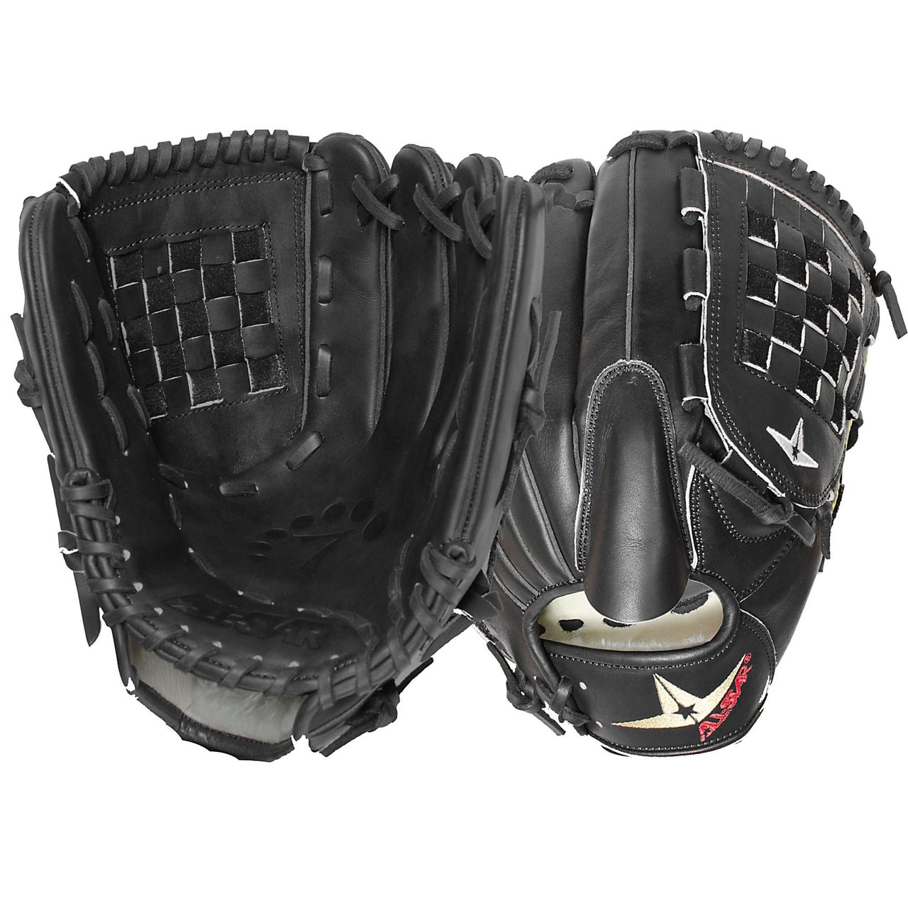 All Star System Seven FGS7-PTBK Baseball Glove 12 Inch (Left Handed Throw) : Designed with the same high quality leather which made the CM3000 series catching mitts so popular, these System Seven fielding gloves have a similar personality: Fast break in and long lasting. High quality selection of Japanese Maruhashi black and tan leather. By design, All Star's tan leather breaks in fast and forms a great pocket. All Star lines the back of our gloves with black leather because it is more durable and stiffer, providing support for a long lasting glove. Pro Guard Padding provides a thin layer of extra padding in the palm area of the glove which helps kill the sting of a mis-caught ball. Pro Guard Padding is thin enough to still have enough feeling, so that you know exactly where the ball is located. System Seven fielding gloves are designed for specific position's needs. These gloves feel like an extension of your arm, empowering you with a long enough reach, maximum control, and complete confidence.