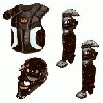 All-Star Player's Series 9-12 Catcher's Set Designed for baseball players ages 9-12, this All Star Player's Series catcher's kit contains several essential pieces of baseball equipment. They are: Catcher's helmet - 2310SP Chest protector - CP912PS Leg guard - LG912PS The youth catcher's helmet features a strong, light shell made of injected molded ABS plastic and a dual-welded steel mask. All Star's Players Series Chest Protector comes with multi-layered foam padding with built in sternum plates for added protection. The catcher's leg guards are designed with resistant plastic components for better protection and full wing padding for comfort.