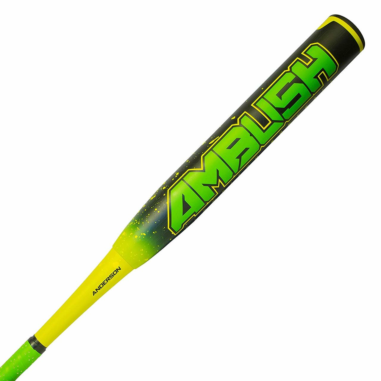 anderson-2018-ambush-composite-slowpitch-softball-bat-34-in-27-oz 011046-3427  874147008676 wo-piece Multi layered Composite for performance and durability ½ Ounce end