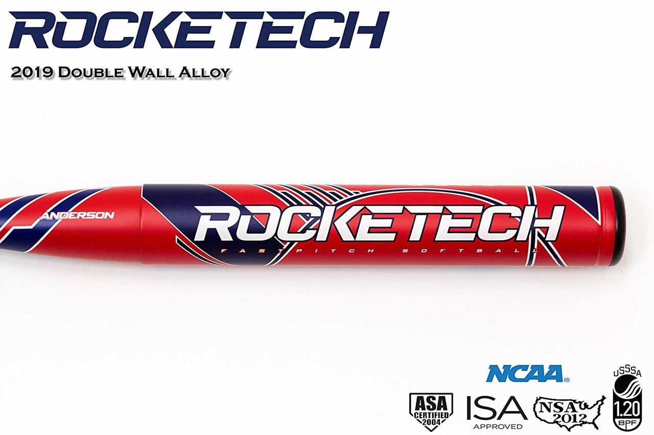 "anderson-2019-rocketech-9-fastpitch-softball-bat-34-inch-25-oz 017037-3425  874147009208 2 ¼"" Barrel End loaded swing weight for more POWER guaranteed!"