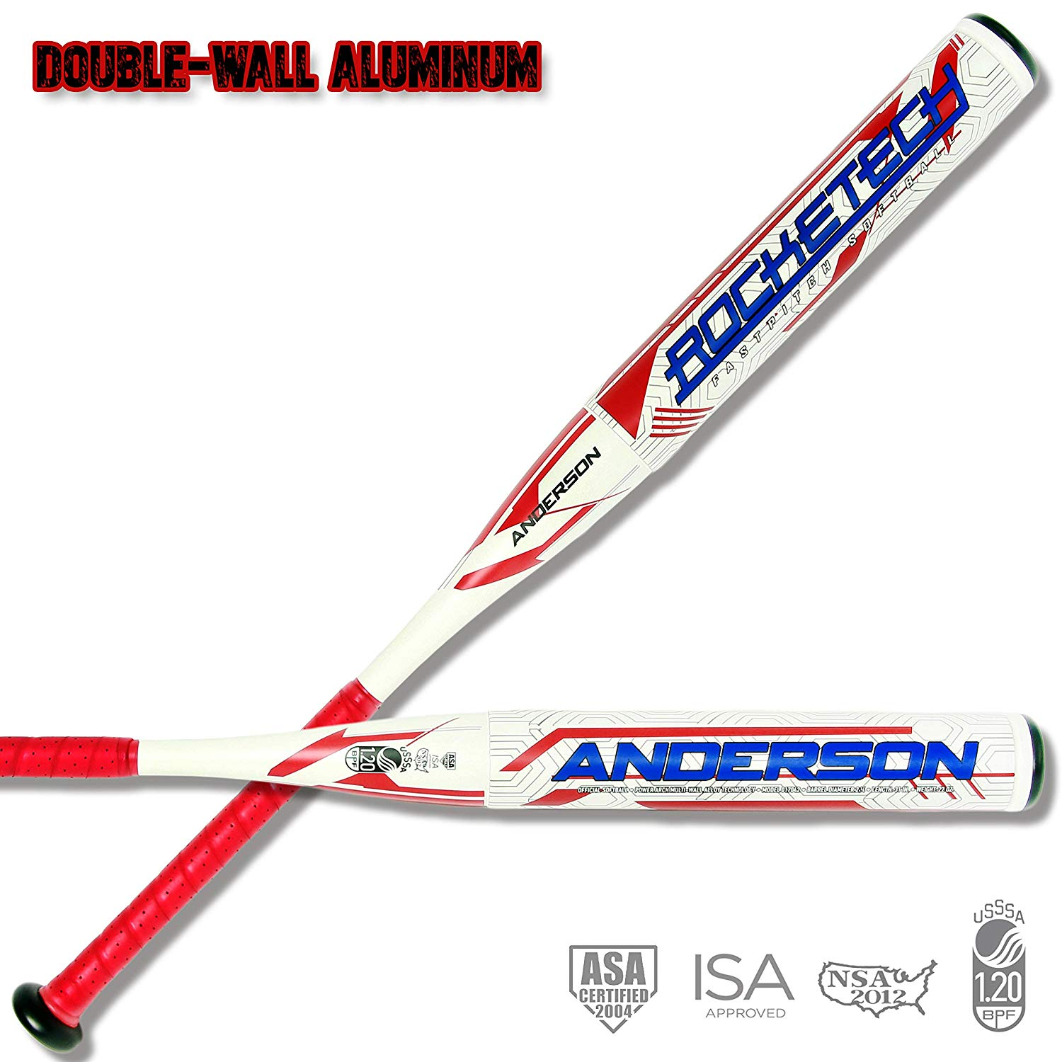 anderson-rocketech-9-double-wall-fastpitch-softball-bat-31-inch-22-oz 017042-3122  874147009512 `-9 Drop Weight End Loaded for more POWER guaranteed! Approved By