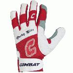 Combat Derby Life Youth Batting Gloves (Pair) (Red, Large) : Derby Life Ultra-Dry Mesh Batting Gloves from Combat feature ultra-dry mesh that repels moisture to keep your hands cool and dry. Diamond-Tech leather palm reinforces durability and improves grip. The ultra-fit fingers and flexible spandex allows for comfortable performance without restriction. Ultra Dry-Mesh Ultra Flex Spandex Diamond Leather Tech Palm Ultra-Fit Fingers