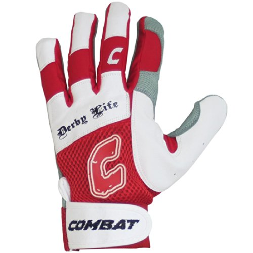 Combat Derby Life Youth Batting Gloves (Pair) (Red, XL) : Derby Life Ultra-Dry Mesh Batting Gloves from Combat feature ultra-dry mesh that repels moisture to keep your hands cool and dry. Diamond-Tech leather palm reinforces durability and improves grip. The ultra-fit fingers and flexible spandex allows for comfortable performance without restriction. Ultra Dry-Mesh Ultra Flex Spandex Diamond Leather Tech Palm Ultra-Fit Fingers