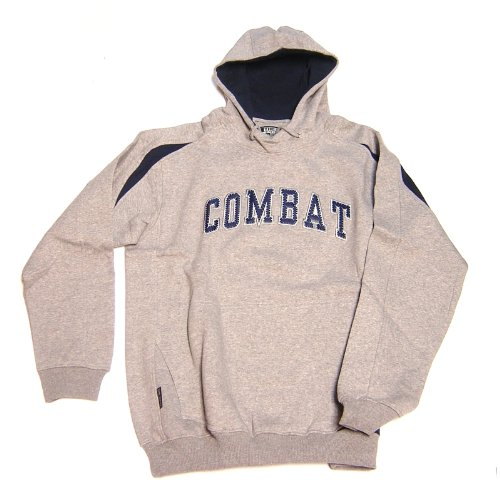 Combat Sports Mens Hooded Sweatshirt (GreyNavy, Large) : Combat hoodie looks great and feels even better. Fleece cottonpoly blend, and athletic cut (wide in the shoulders, narrow in the waist).