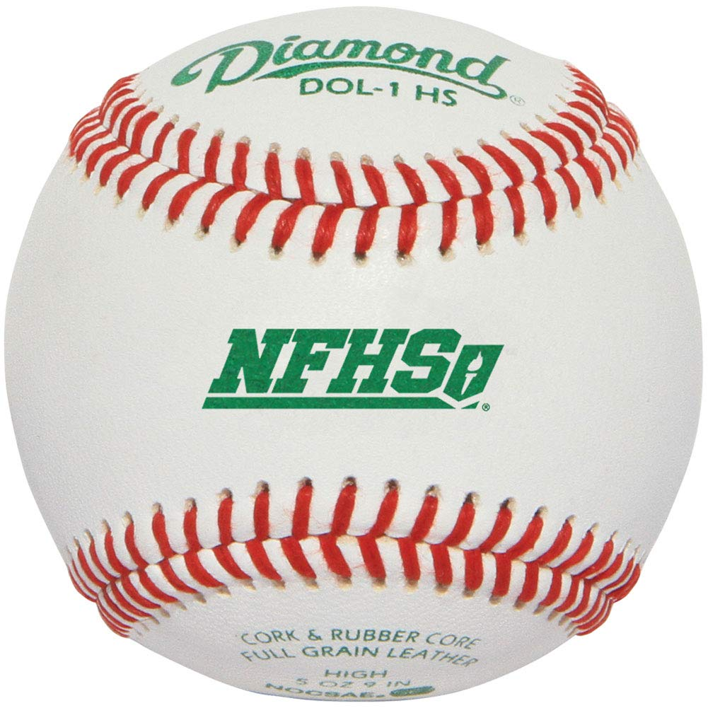 diamond-dol-1-nfhs-official-league-leather-baseballs-1-dozen DOL-1-HS-DOZ Diamond 039403111532 Full-grain leather cover forA durability RaisedA seam construction for better control