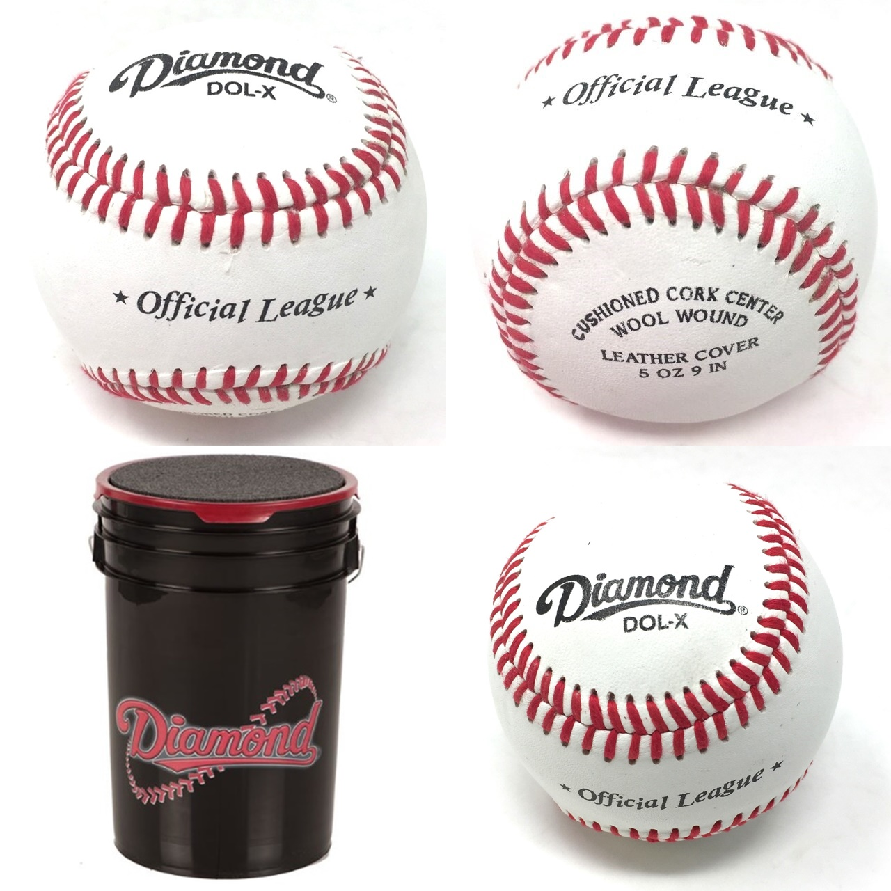 diamond-dol-x-official-baseballs-30-balls-and-bucket-leather DOLX-30-BUCKET Diamond Does Not Apply <p>Leather Cover Cushioned Cork Center Wood Wound 5 oz 9 in