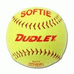 The D-11 Softie slow pitch practice softball is composed of a high-impact cork center with cover-to-core bonding process. The ball is wrapped in a yellow synthetic cover with red stitching.