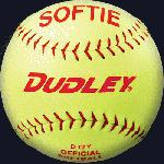The D-12 Softie practice softball for slow pitch is composed of a high-impact cork center with cover-to-core bonding process. The ball is wrapped in a yellow synthetic cover with red stitch.