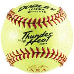 Thunder Heat Series. ASA Fast Pitch. Top grade Yellow leather cover with Red stitch. Unique gluing process that bonds cover to poly core. COR: .47 Compression: 375 lbs. Size: 11. Sold in dozens. Maximum liveliness at legal association specifications. THE BALL for fast pitch. Size: 11 Thunder Heat Series Top grade Yellow leather cover with Red stitch. Top grade Yellow leather cover with Red stitch Unique gluing process that bonds cover to poly core.